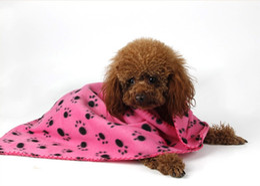 Wholesale Pet Blankets Paw Print - 5pc Paw Print Pet Cat Dog Fleece Soft Blanket throws 60*70cm Warm Paw Print Cat Dog Puppy Fleece Soft Blanket Bed Mat p98