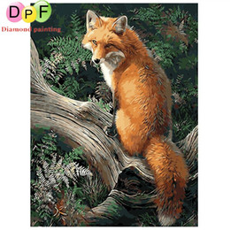 Wholesale Wall Metal Art Tree - DPF fox in the tree Frameless Painting By Numbers Unique Gift Acrylic Paint Hand Painted Wall Art Picture decorations