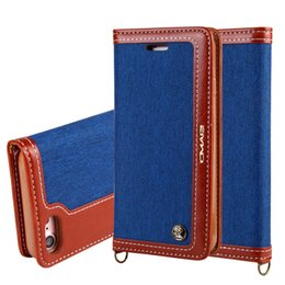 Wholesale Blue Jean Wallet - For Iphone 8 8TH 7 7PLUS I7 6 6S Plus Samsung Galaxy S7 Edge Flip Leather Wallet Case TPU Pouch Jean Denim Strap Stand Photo Skin Cover 1PCS