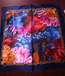 Wholesale Paint Scarf - NEW Feather Chain Patterns Women Square Shawl,100% Mulberry Silk Satin Lady Scarf,High Quality Women's Oil Painting Printed Scarves 90*90CM