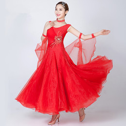 Wholesale Rosette Pink White - 4Color Modern dance dress women diamond embroidery Waltz Tango Foxtrot quickstep costume competition clothing standard ballroom dance skirt