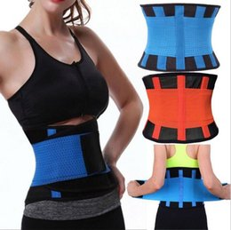 Wholesale Fitness Black Women - Women Men Adjustable Waist Trainer Trimmer Belt Fitness Body Shaper For An Hourglass Shaper Black Pink Green Blue Yellow