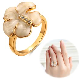 Wholesale Yellow Gold Opal Ring - New Fashion 18K Yellow Gold Plated with AAA+ Cubic Zircon Crystal Opal Rose Flower Ring fine Jewelry for Wedding Party Women Accessories