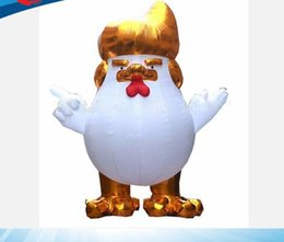 Wholesale Large Cock - 10ft 3m high giant large inflatable usa gold Donald Trump rooster cock models,Chicken Mascot Cartoon