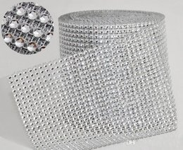 "Wholesale Mesh Wrap Roll Sparkle Rhinestone - 10yard roll 4.75"" 24 Rows manmade Diamond Mesh yards wrap Rhinestone Ribbon Crystal trim Wrap sparkle bling ribbon Wedding Decoration WT029"