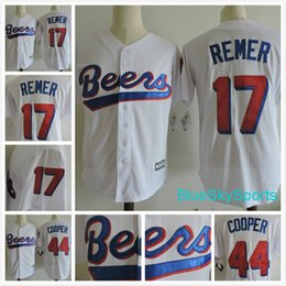 Wholesale Beer Jersey - BASEketball BEERS MOVIE Jersey 17 Doug Remer 44 Joe Coop Baseball Jerseys White All Stitched Button Down