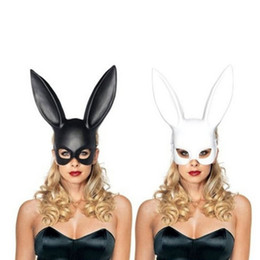 Wholesale Black Bunny Mask - Women Girl Party Rabbit Ears Black White Mask Masquerade Mask Bunny Mask for Birthday Party Easter Halloween Costume Accessory