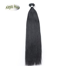 Wholesale Per Bonded Hair Extensions - #1B 1g s 100g Keratin I-tip Hair Extensions Brazilian Virgin Remy Human Hair Per-bonded Hair Extensions Free Shipping