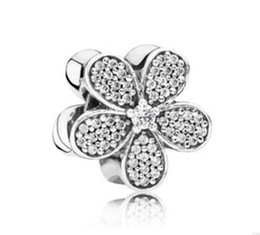 Wholesale European Beads Swarovski - Wholesale 10pcs Swarovski Crystal Five Valve flower Charm Beads Silver European Charms Bead Fit Pandora Bracelet Fashion DIY