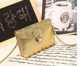 Wholesale Cover Phone Korean Style - new arrival PU mobilephone bag electroplate metal snap and messeger bag cross body single shoulder belt bag