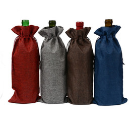 Wholesale Wine Ornaments Wholesale - 10pcs lot Jute Wine Bottle gift bag Burgundy 15 * 35 cm Christmas wedding wine decoration Folding green bag Festival items