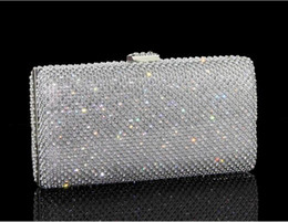 Wholesale Diamonds Czech - 100%Real Image Bling Bling Shiny Czech Diamond Handbag Evening Bag Flap Package Wedding Party Clutches 2017-2018