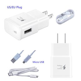 Wholesale Apple Oem Usb Wall - OEM Adaptive Fast Wall Charger USB Cable Hight Quality Universal 5V 2A Real Quick Charger 9V 1.67A For Samsung Galaxy S6 S7 edge Note 5