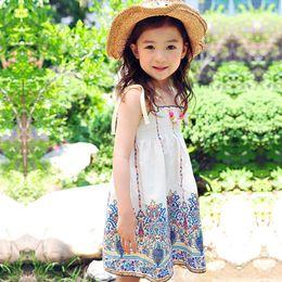 Wholesale Retro Bohemia Style - New Bohemia Children's Dresses Summer Girls Dresses Retro Floral Princess Sleeveless Kids Girl's Dresses Beach Party Dress White Blue A6230
