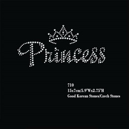 """Wholesale Wholesale Iron Princess Patches - 24pcs lot Hotfix Rhinestone Iron On Heat Transfer Motifs Patches The """"Princess"""" With Small Crown Applique"""