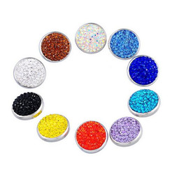 Wholesale Wholesale Bead Custom Jewelry - NOOSA Custom full crystal rhinestone noosa chunks singles Ginger button snaps 20mm interchangeable DIY jewelry 7 colors free shipping