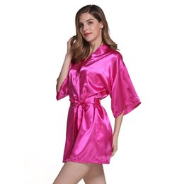 Wholesale Cardigan Pajamas - 20pcs Sexy Imitation silk pajamas pure color bathrobes cardigan rituals bridesmaid dress bathrobe hot spring party stockings pajamas AP25