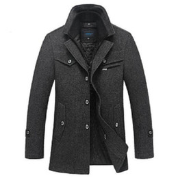 Wholesale Mens Long Casual Wool Overcoats - Winter Wool Coat Men Slim Fit Fashion Jackets Mens Casual Warm Outerwear Jacket Overcoat Pea Coat Plus Size XXXL 4XL