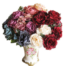 Wholesale Wedding Bouquet Styles Roses - Wholesale-French style Hi-Q bicolor artificial rose 13 heads hybrid silk peony decorative flower bouquet wedding party vase decoration