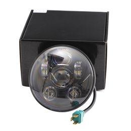 "Wholesale Universal Chrome Headlight - Motos Accessories 5.75"" headlight motorcycle 5 3 4"" led headlight for Harley Motorcycle Black chrome Projector Daymaker"