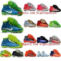 Wholesale Pink Boots Boy - 2018 New Mercurial Superfly V SX Neymar Turf AG FG football boots Kids High Top Men soocer cleats boys Soccer shoes CR7 Women Original Boots