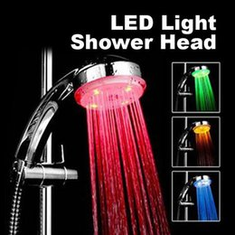 Wholesale Contemporary Bath Lighting - 7 Color Changing LED Light Shower Head Faucet Water Saving Round Single Showerhead Bath Sprinkler