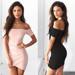 Wholesale Wholesale Women Short Tight Dress - Hot Fashion Strapless Top Tight Dress Solid Color Short Sleeved Dress Pink Off Shoulder Skater Dress