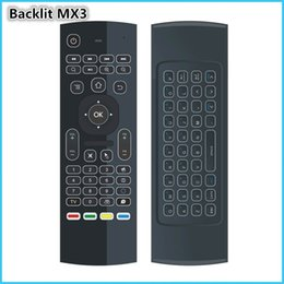 Wholesale Sensor Xbox - Wholesale- Backlit MX3 Remote Control G Sensor QWERTY 2.4Ghz Wireless backlight Mini Keyboard Air Mouse MX3L for Android TV Box XBox Laptop