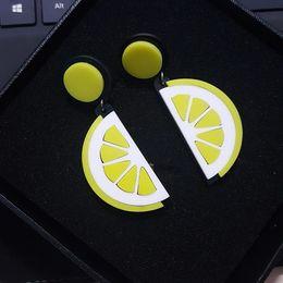 Wholesale Crystal Fruit Plate - Nightclub Hiphop Exaggerated Fruit Oranges Lemon Earrings almanac personality Acrylic Stud Earring ER763