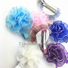 Wholesale Baby Flower Hair Clips Bows - solid color chiffon voile flower with alligator clip for baby hair accessory dress decoration 24pcs free shipping