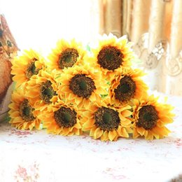 Wholesale Sunflower Wedding Decorations - 6 PCS Single Stem Artificial Sunflower Silk Flower Home Party Decoration F135