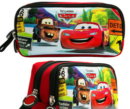 Wholesale Car Bags For Kids - Double Zip Cartoon car avenger School Pencil Bag case pouch Children Student Pen Case Stationery Box Girl Gift For Kid