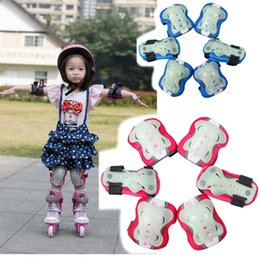 Wholesale Skateboard Glow - Wholesale- 6pcs set Glow-in-the-dark Skating Protective Gear Sets Elbow pads Bicycle Skateboard Ice Skating Roller Protector For Kids