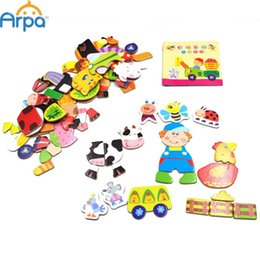 Wholesale Multifunctional Toys For Children - Wholesale-Multifunctional Educational Animals Alphabetic Letters Numbers Magnetic Puzzle Toys for Children Fridge Magnets