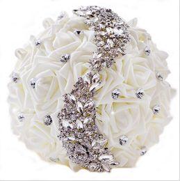 Canada Bouquet De Mariage Artificielle Personnalisé De Mariage Blanc Bouquet De Mariée Ramos De Novia Cristal Bouquet De Demoiselle D'honneur En Stock Offre