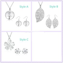 Wholesale Christmas Trees For Cheap - Cheap 925 Silver Plated Living tree of life Jewelry Set Leaf Heart Flower Key Pendant Necklace and Earrings For Women Xmas gift