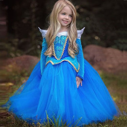Wholesale Cinderella Halloween Costume - New Year Costume For Kid Cosplay Dress Clothes Children Kid Sleeping Beauty Aurora Rapunzel Cinderella Ceremonies Fairy Fancy Dresses