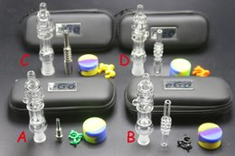 Wholesale Glass Items Wholesale - Factory price mini Nectar Collector kit with titanium quartz nail clip wax tool silicon jar zipper case glass bongs pipes newest item