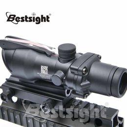 Wholesale Acog Scope Fiber - Trijicon ACOG 4X32 Red Dot Sight Optical Rifle Scope Real Fiber Optics Red Illuminated Crosshair Hunting Scopes