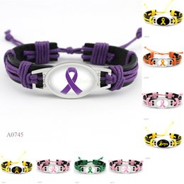 Wholesale Cancer Ribbon Charms For Bracelets - (10 Pieces Lot) Fashion Hope Fighter Breast Cancer Ribbon Awareness Heart Charm Leather Wrap Cuff Bracelets For Women Men Girl Jewelry