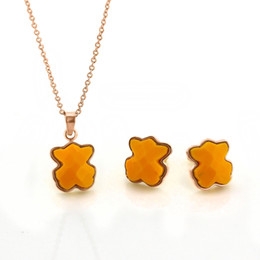 Wholesale Small Bear Gifts - fashion small ladies 18k gold plated Bear jewelry set ewelry