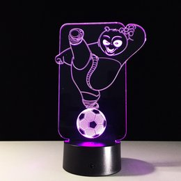 Wholesale led panda lamp - 2017 Kongfu Panda 3D Illusion Night Lamp 3D Optical Lamp AA Battery DC 5V Wholesale Dropshipping Free Shipping