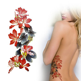 Wholesale Feet Painting - Hot Realistic Temporary Tattoos Chinese Ink Brush Painting Art Tattoo Sticker Flower Tattoos Waterproof Free Shipping