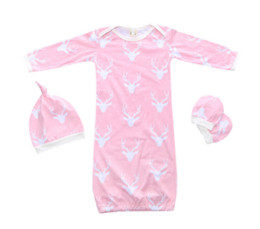 Wholesale Gloves Lolita - romper + hat + gloves baby pajamas set baby cloting set Christmas Toddler Baby pajamas sets 3 pcs. infant sleeping bag