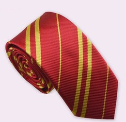 Wholesale Yellow Neckties For Men - Striped Harry Potter Neck Tie for men school ties student Gryffindo Ravenclaw Hufflepuff Slytherin Necktie harry potter necktie