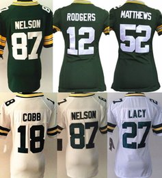 Wholesale New 52 - 2017 White Green Yellow Blue New Women's 12 Aaron Rodgers 52 Clay Matthews 18 Randall Cobb 87 Jordy Nelson jerseys