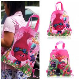 Wholesale Woven Drawstring Backpack Wholesale - Min Order=10PCS Trolls Children Cartoon Drawstring Backpacks School Bags 34*27CM Kids Best Birthday Gift Shopping Party Bags Free Shipping