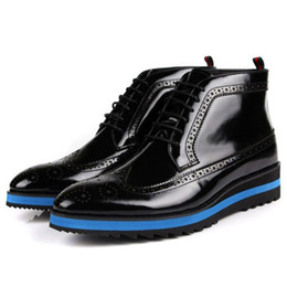 Wholesale Leather Riding Boots Men - Wholesale- 2016 New Fashion Genuine Leather Formal Brand Man Wing Tip Ankle Boots Men's Patent Flat Platform Riding Luxury Male Shoes GL647