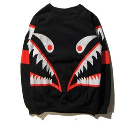 Wholesale Blending Stamp - Autumn and winter new yeezus kanye hip hop palace tide brand mos small monster shark tooth red stamp plus cashmere sweater men and women