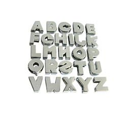 Wholesale Chrome Diy Slide Letters - Wholesale 8mm 130pcs lot A-Z Chrome Plain Slide letters Fit For 8mm leather wristband bracelet DIY Accessories